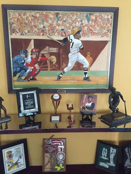 Some of the Clemente Family's collection of Roberto Clemente memorobilia at their home. (Photo by Bobby Clemente)