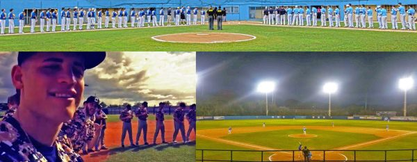 Opening Ceremony and the game before ours. [Bottom Left] Wilson Matos on the field with Greg Dobies and the rest of the SUNY Canton Kangaroos during the ceremony.  (Photo by Wilson Matos)